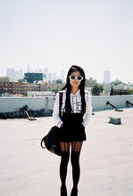 Olivia Lopez - Target Button Up, Spanish Moss Round Sunglasses, House Of Holland Pretty Polly, Downtown La - 500 Days of Bummer