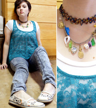 Gina S. - Forever 21 Basic White T Shirt, Lace Tunic, Bdg Acid Wash Skinny Jeans, Rocket Dog Skull & Rainbow Flats, Urban Outfitters Multi Charm Necklace - It ain't gonna save me.