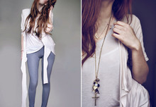 "Daria G. - Mango Shirt, Mango T Shirt, Primark Jeggings, Accessorize ""Love"" Necklace, Cluster Necklace - Old pine"