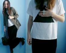 Veronika B - Second Hand Army Jacket, Diy Triangle Tee, Diy Double Finger Cross Ring, Long Velvet Dress - †▲†