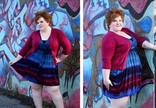 "Stiletto Siren - Torrid Tie Dye Dress, Torrid Raspberry Cardigan With Jewel Buttons, Ny&Co Shaping Cami - ""Tie-dye fly, A Technicolour Wonder From Head To Toe"""