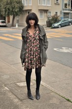 Annabel Ly - Vintage Floral Dress, No Name Parka, Vintage Lace Up Booties - Faux grunge