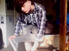 Charlie Casey - Urban Outfitters Flannel, Topman Skeleton Top, Topman Grey Jeans, Vans - I've got a dark alley and a bad idea that says you should shut your mouth