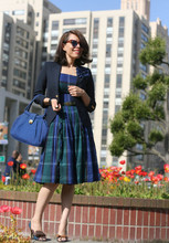 Jennine Jacob - Violetville 50's Dress, Lands End Boy's Blazer, Aldo Bow Shoes, Vintage Bag - Seriously....