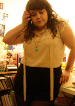 Ella Masters - Avon Vintage Silver Drop Necklace, New Look Sheer Blouse, H&M Black Cotton Skirt - Drops of blue