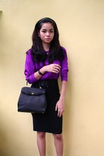 Kate H - Barkins Purple Top, Dotti Black Pencil Skirt, Bally Bag - Purple haze