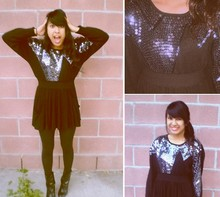 Jacqueline Leonardo - Thrift Store Black Sequined Top, Thrift Store Black Pocket Skirt - Time to Pretend