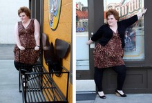 "Stiletto Siren - Torrid Animal Print Diamond Hem Dress, Torrid Jewel Button 3/4 Sleeve Cardigan, Torrid Lace Ankle Leggings, American Eagle Canvas Wedges - ""It's A Lovely Thing, The Animal Instinct"""