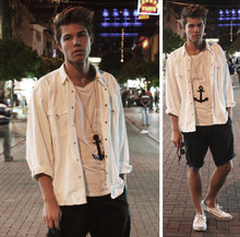 Andreas Wijk -  - White denim and navyblue shorts.