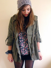 Lily Melrose - H&M Slouchy Hat, Primark Floral 3/4 Length Top, Asos Leather Cuff, Topshop Parka, H&M Pannelled Body Con - Tell all your friends