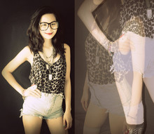 Abbie Almasco - Topshop Leopard Printed Jersey, Guess? High Waist Cut Offs (Diy), Thigh Highs, Forever 21 Layered Necklaces, Gift From My Bestfriend Dogtag - Whatsitcalled?
