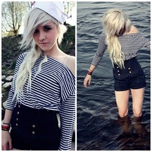 Anka L. - Zara High Waisted Jeans Hotpants, American Apparel Stripe Pocket Frock, Vintage Sailor's Hat - How deep is your ocean? How high is your sky?