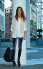 Laura Ellner - Zara Buttondown, Lf Furry Vest, Alice + Olivia Velour Leggings, Zara Chain Strap Bag, Jeffrey Campbell Clogs - Velour