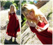 Ashley D. - Vintage 1970s Pleated Polyester Maxi Dress, Antique Locket - Happy :)