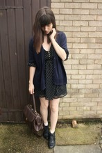 Sarah B - Navy Cardigan, Print Dress, Brown Bag, Black Ankle Boots - Your head is on fire
