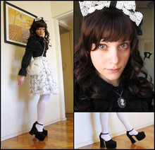Rita Trixtar - Cameo The Label B&W Necklace, Handmade Flower Pattern Skirt With Bow Lace, Todo Moda Offwhite Bow Shoulder Bag, Anna House Black Ruffle Blouse, Thrifted Chunky Goth Shoes, Y!Japan Long Brown Wig, Innocent World B&W Lace Headbow - Love comes tumbling