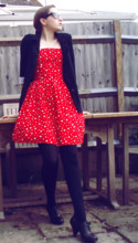 Kitty B - Accessorize Sunglasses, Tammy Red Polka Dot Dress, Primark Boyfriend Blazer, New Look Shoe Boots - The Girl in the Red Dress