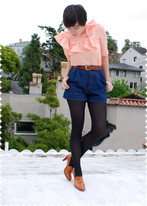 Cali Vintage - Peach Blouse, Vintage Denim High Rise Shorts - Peachy keen