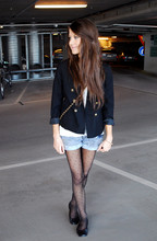 Marianna M - H&M Blazer, Carlings Denim Shorts, Acne Studios T Shirt, Kappahl Tights, Zara Leather Ballerinas - Dotted tights
