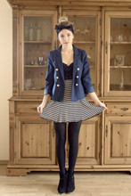 Josephine M. - Diy Hairbow, H&M Blazer, H&M Corsage, 2hand Striped Skirt, Zara Wedges - Trace your fingers on the sky