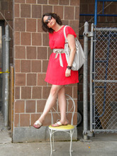 Rebecca F. - Banana Republic Dress, H&M Belt, Aldo Bag, Jack Rogers Sandals - Brick Red