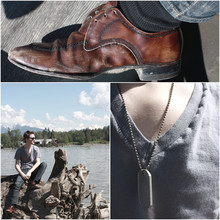 Dayne Tank - Personalized Dog Tag, American Apparel Deep V Neck, Value Village Old Man Shoes - Come And Shake Me Up, Shake Me up.