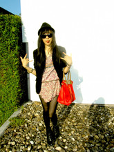 Arika Indra - Zara Fedora Black, Longchamp Type M, Dr. Martens Boots, H&M Tights, Self Made Satin Dress, Ray Ban Sunglasses - Hello fedora