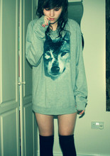 Sophie Watts - Topman Grey Wolf Jumper, New Look Over The Knee Socks - Take my hand and we'll hide in the corner