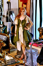 Jane Aldridge - Jelly Garcia Green Vest W/ Muslin Underskirt, Austin Goat Hair Vest, Ann Demeulemeester Lace Up Sandals, Jelly Garcia Brown Assymetrical Skirt - Wanna be back in Tokyo