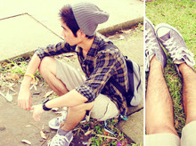Jay Guevarra - Thrift Shop Grey Bonnet, Helio Brown Checkered Polo, Timex Sports Watch, Thrift Shop Baller, Converse Grey Sneakers, Surplus Skater Shorts - After school