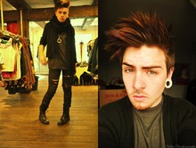Nicklas Due - Second Hand Grey T Shirt, Topshot Black Ripped Jeans, Second Hand Black Scarf, Dr. Martens Black Boots - †††