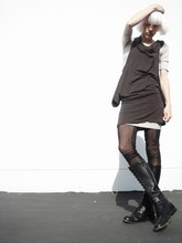 Biz C - Anzevino & Florence Dress/Top, Love Ribbed T Dress (Under), H&M Sheer Textured Leggings, The Frye Company Lace Up Boots - Same....