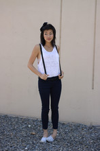 Teresa T - Bdg Pants, H&M Suspenders, Mamas Bow, Urban Outfitters Shoes - California raised
