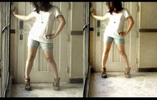 Marish Q. - Divisoria :D Locket, Diy Blue Distressed Shorts, Dad's Shoes Again, Bench Body White Tee - Take me to the riot