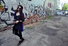 Violet Ell - River Island Hat, Topshop Shoes, River Island Dress, H&M Shirt, Diy Legging - Http://vi0lettae.blogspot.com/