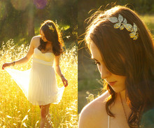 Michelle Elizabeth R - Chiffon Cream Dress, Urban Gold Leaf Headband - The duality of nature, Godly nature, human nature.