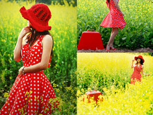 Zen Huo - Glamour Boutique Red Hat, Made By Me Polka Dots Dress, Red Necklace, Vintage Watches, Next Red Highheels, Suitcase - Polka-dots