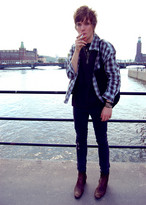 Jimmy-Ray Rastbäck - Dior Homme Brown Boots, Cheap Monday Jeans, Shirt - Gasoline