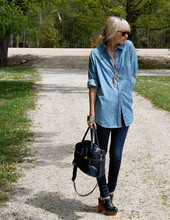 Betsy Berger - H&M Jean Shirt, Bdg Jeans, Jeffrey Campbell Clogs, Topshop Purse - Blue Suit