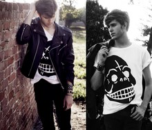 Adam Gallagher - Cheap Monday Skull Tee, Leather Jacket, Cuffs - CHEAP