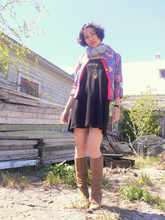 M. Z. - American Apparel Multi Style Little Black Dress, Chinese Style Jacket, Leather Boots - Back yard