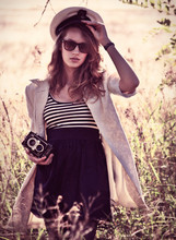 Genie Miller - Yashica, Loose Blazer, Vintage Sailor Cap, Yde Dress, Dark Grey Tights - Hearts on fire