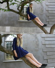 Elsa Bodin - Second Hand Alice Blue Dress, H&M Black Boring Sneakers - An Alice Blue
