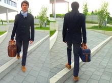 Andreas M. - Floris Van Bommel Light Brown Suede Shoes, We White Scarve With Blue Stripes, We Navy Military Style Double Breasted Coat, We Blue Wool Trousers With Black Pin Stripes, Brown Bag, Blue Bag, H&M Dark And Light Blue Striped Socks, Munich Matching Deer Suede Belt - Brown or blue ?