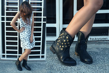 Pat Dela torre - Thrifted Studded Leather Boots, Thrifted Polaroid Dress - I Dare You to Step On Me