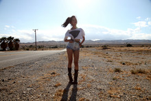 Olivia Lopez - Gas'd Inverted Pyramid Shirt, Spanishmossvintage Patchwork Denim Shorts - No Man's Land