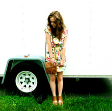 Kara Keller - Minkpink Flowered Dress, Ecote Tan Wedge Sandles, Garage Sale Tan Purse - I could really use a wish right now.