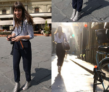 Caroline Daily - Opening Ceremony Buckle Sandals, Prada Bag, Zara Carrot Pants, Sandro Top - Touriste à Florence