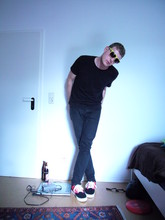 Johannes F. - H&M Yellow Sunglasses, H&M Black T Shirt, H&M Black Slim Jeans, Vans Black/Red Sneakers - Bedroom . afternoon . new vans
