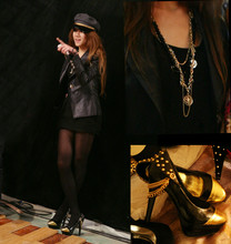 Ace Li - Me Jane Lacquered Jacket, Cecil Mcbee Fishnet Sweater, Tokyo, Japan Military Cap, Flat J Golden Black Chained & Studded High Heels, Cecil Mcbee Layered Chains With Golden Coins - My sweet golden black